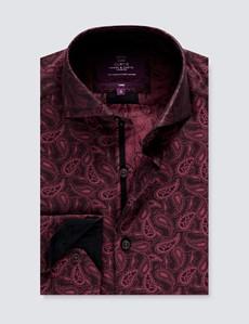 Men's Curtis Burgundy & Black Jacquard Paisley Relaxed Slim Fit Shirt - High Collar - Single Cuff