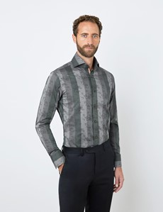 Men's Curtis Grey & Green Jacquard Stripes and Flowers Relaxed Slim Fit Shirt - High Collar - Single Cuff