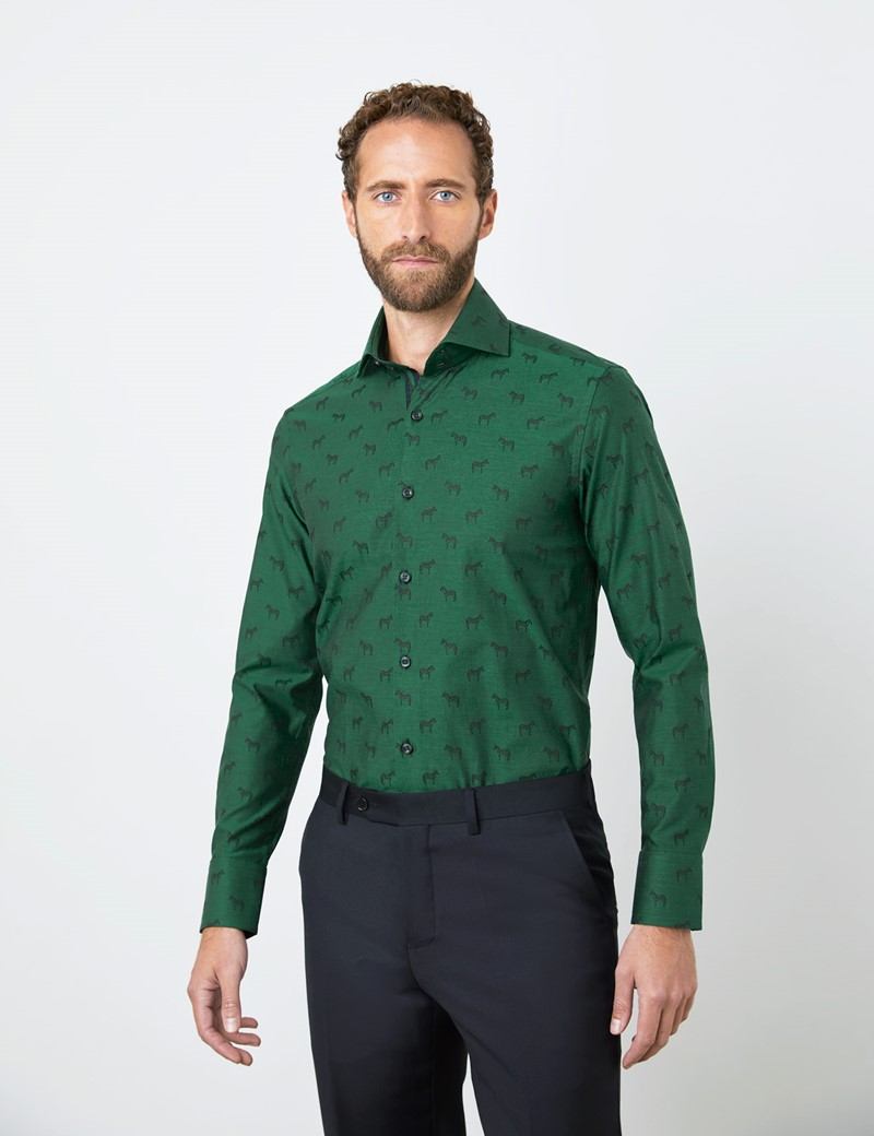 Men's Curtis Green Zebras Relaxed Slim Fit Jacquard Shirt - High Collar - Single Cuff