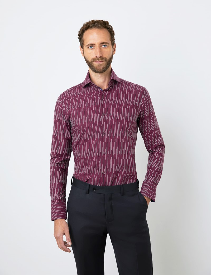 Men's Curtis Burgundy & White Dobby Lines Relaxed Slim Fit Shirt - High Collar - Single Cuff