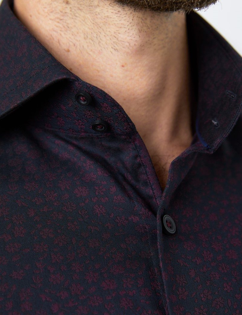 Men's Curtis Burgundy & Navy Jacquard Floral Relaxed Slim Fit Shirt - High Collar - Single Cuff