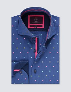 Men's Curtis Navy & Pink Dobby Relaxed Slim Fit Shirt - High Collar - Single Cuff