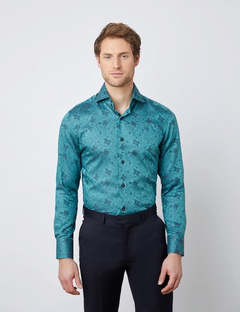 Men's Curtis Dark Green Floral Relaxed Slim Fit Shirt - High Collar - Single Cuff