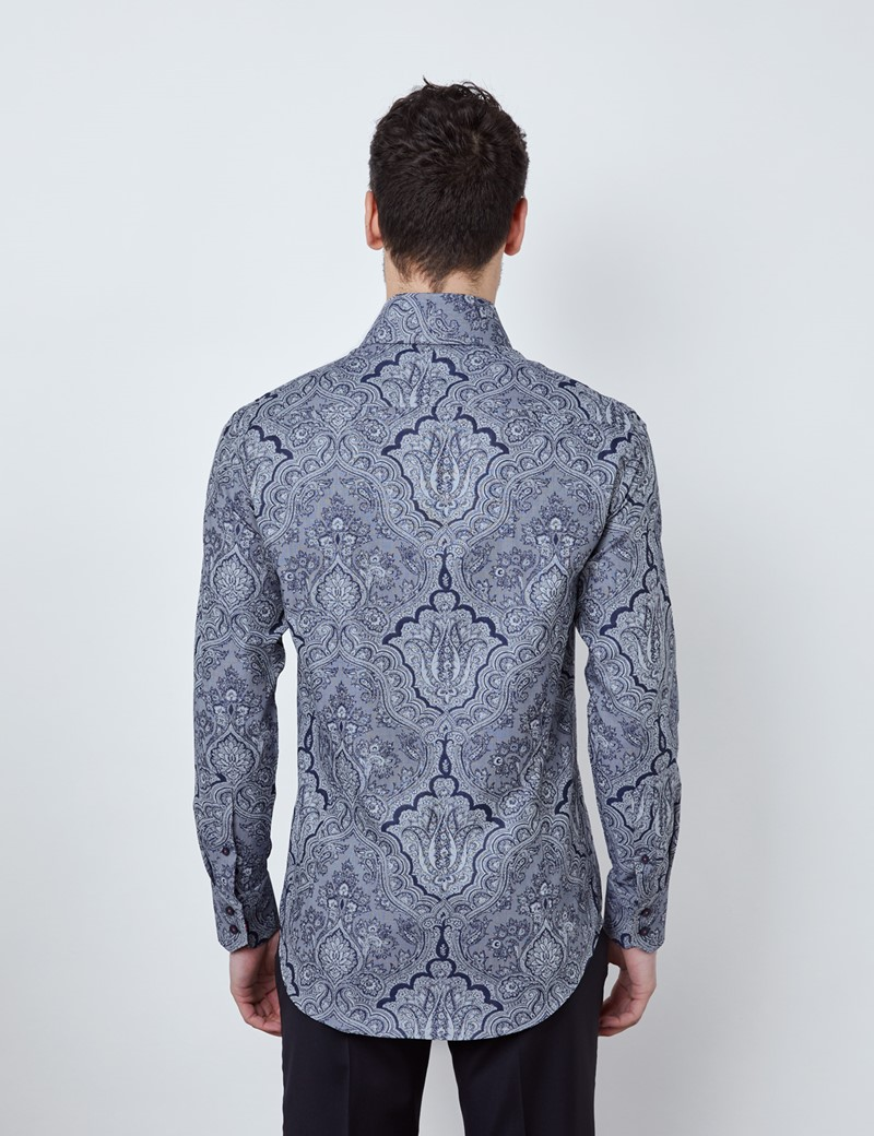 Men's Curtis Navy & Grey Paisley Relaxed Slim Fit Shirt - High Collar