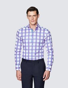 Men's Curtis White and Pink Multi Checks Cotton Shirt - High Collar