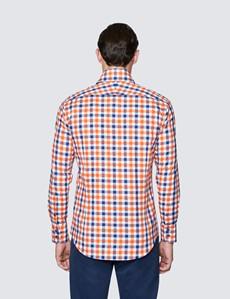 Men's Curtis Orange and Navy Cotton Shirt - High Collar