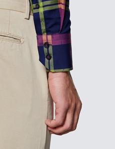 Men's Curtis Navy & Pink Multi Checks Relaxed Slim Fit Shirt - High Collar