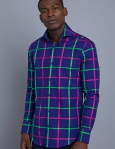 Men's Curtis Navy & Green Large Plaid Slim Fit Shirt - High Collar - Single Cuff