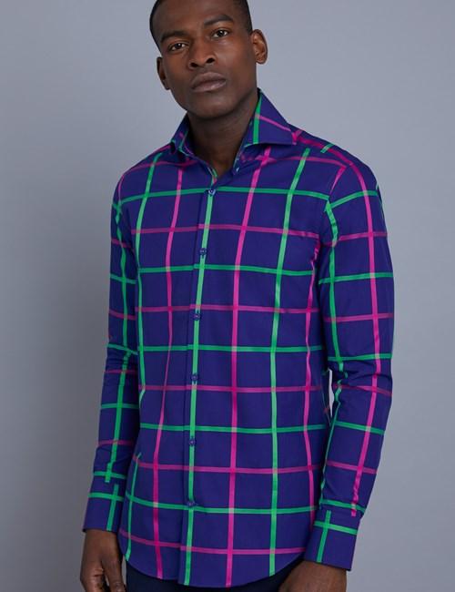 Men's Curtis Navy & Green Large Check Slim Fit Shirt - High Collar - Single Cuff