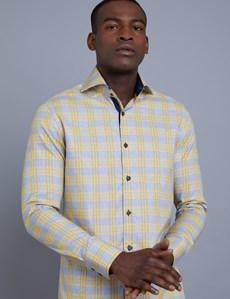 Men's Curtis Blue & Yellow Large Plaid Slim Fit Shirt - High Collar - Single Cuff