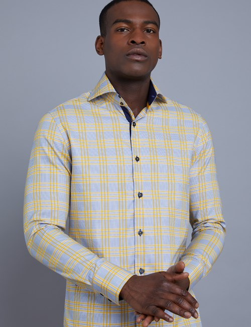 Men's Curtis Blue & Yellow Large Check Slim Fit Shirt - High Collar - Single Cuff