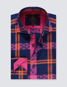 Men's Curtis Fuchsia & Navy Jacquard Check Slim Fit Shirt - High Collar - Single Cuff