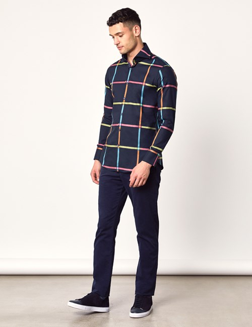 Men's Curtis Navy & Pink Multicolour Check Slim Fit Shirt - High Collar - Single Cuff
