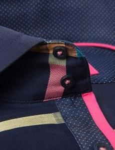 Men's Curtis Navy & Pink Multicolour Check Slim Fit Shirt - High Collar - Single Cuff