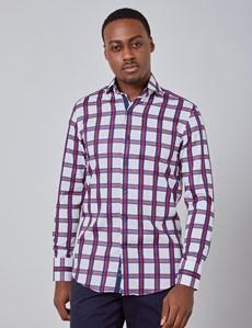 Men's Curtis White & Red Check Slim Fit Shirt - High Collar - Single Cuff