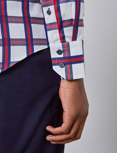 Men's Curtis White & Red Plaid Slim Fit Shirt - High Collar - Single Cuff