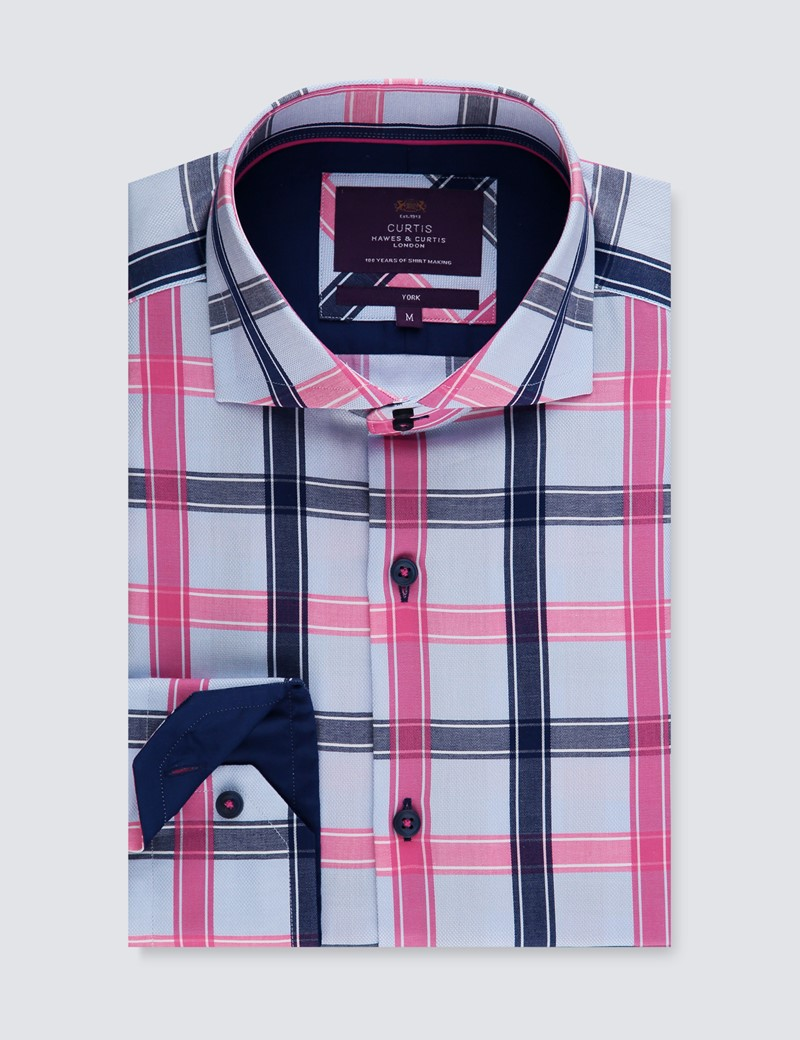 Men's Curtis Blue & Fuchsia Large Check Relaxed Slim Fit Shirt - High Collar - Single Cuff