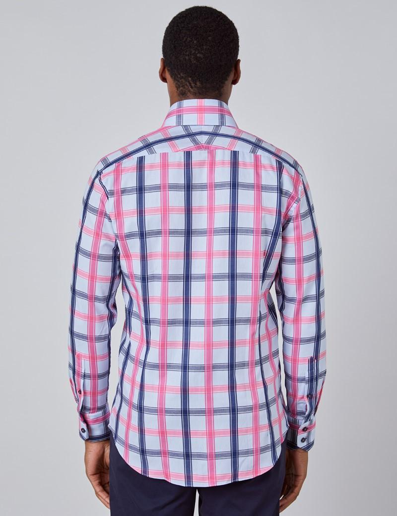 Casualhemd – Slim Fit – Hoher Kragen – blau & rosa Gitter-Karo