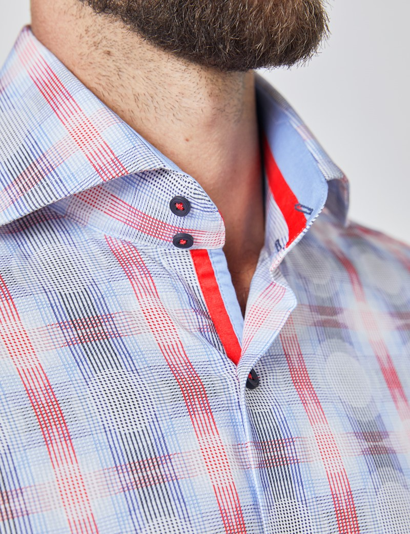Men's Curtis Blue & Red Jacquard Circles and Check Relaxed Slim Fit Shirt - High Collar - Single Cuff