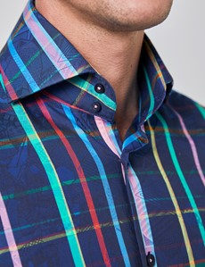 Men's Curtis Navy & Pink Jacquard Multi Check Relaxed Slim Fit Shirt - High Collar - Single Cuff