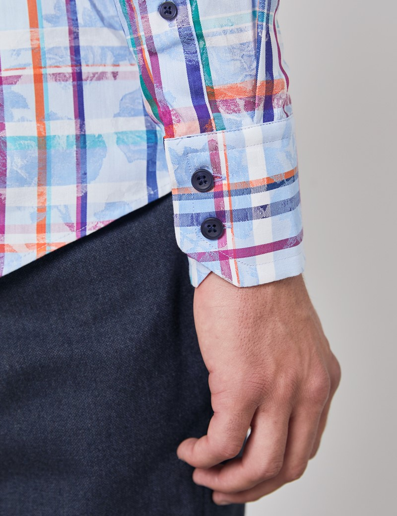 Men's Curtis Blue & Orange Jacquard Multi Check Relaxed Slim Fit Shirt - High Collar - Single Cuff