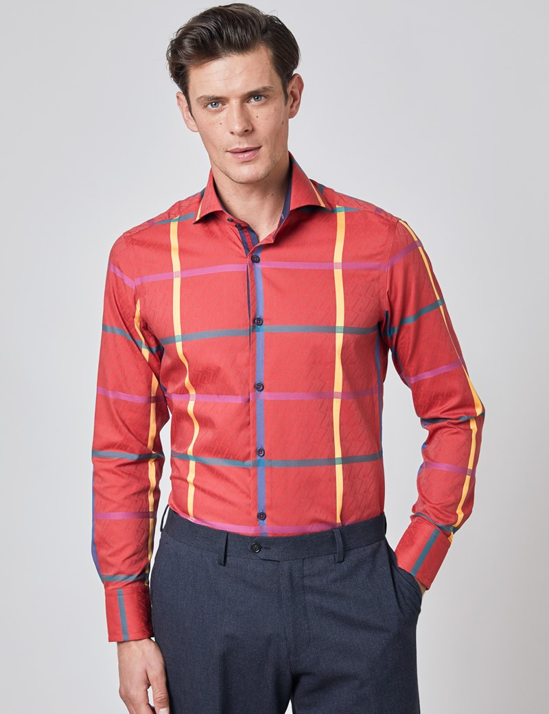 Men's Curtis Red & Green Jacquard Large Check Relaxed Slim Fit Shirt - High Collar - Single Cuff