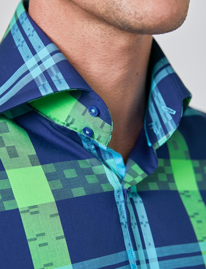 Men's Curtis Navy & Green Jacquard Multi Check Relaxed Slim Fit Shirt - High Collar - Single Cuff