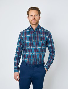 Men's Curtis Brown & Blue Plaid Relaxed Slim Fit Shirt - High Collar - Single Cuff