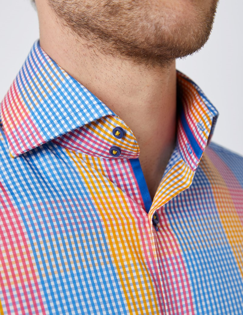 Men's Curtis Yellow & Blue Check Relaxed Slim Fit Shirt - High Collar