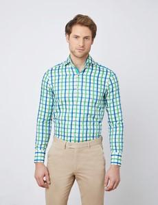 Men's Curtis White & Green Multi Plaid Relaxed Slim Fit Shirt - High Collar