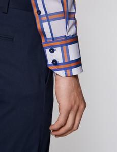 Men's Curtis White & Orange Large Check Relaxed Slim Fit Shirt - High Collar