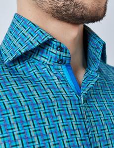 Casualhemd – Relaxed Slim Fit – Hoher Kragen – türkis geometrisches Muster