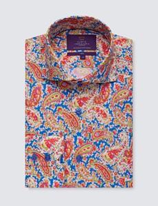 Mens Curtis Blue & Pink Floral Paisley Print Cotton Shirt - High Collar