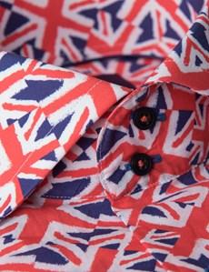 Men's Curtis Red & Navy Union Jack Print Slim Fit Shirt - High Collar - Single Cuff