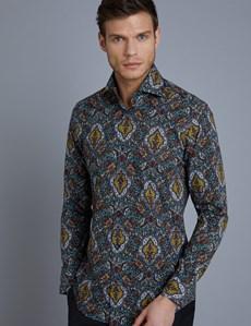 Men's Curtis Navy & Gold Paisley Slim Fit Shirt - High Collar - Single Cuff