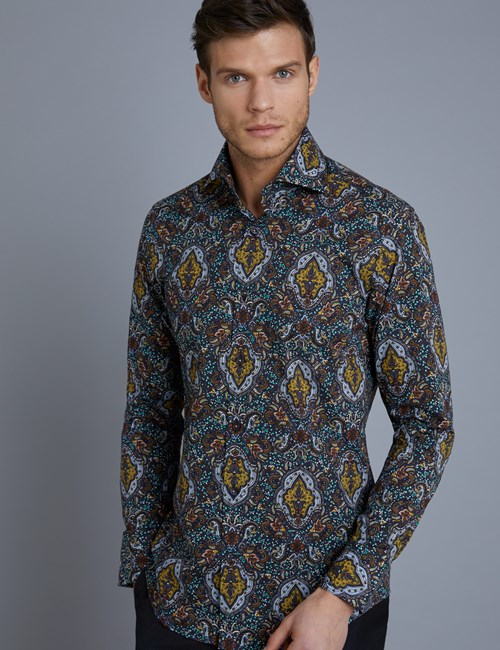 Men's Curtis Navy & Gold Paisley Slim Fit Shirt - High Collar - Single Cuff