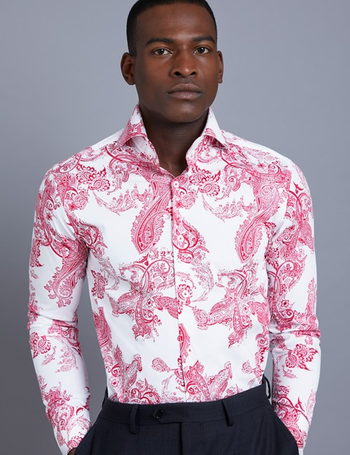 Men's Curtis White & Red Paisley Slim Fit Shirt - High Collar - Single Cuff