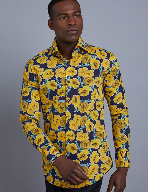 Men's Curtis Blue & Yellow Roses Print Slim Fit Shirt - High Collar - Single Cuff