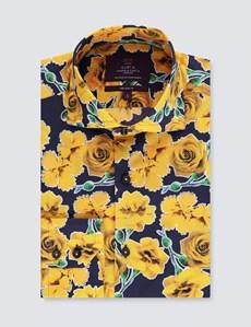 Men's Curtis Blue & Yellow Roses Print Slim Fit Shirt - High Collar - Single Cuff
