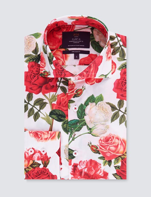 Men's Curtis White & Red Rose Print Slim Fit Shirt - High Collar - Single Cuff