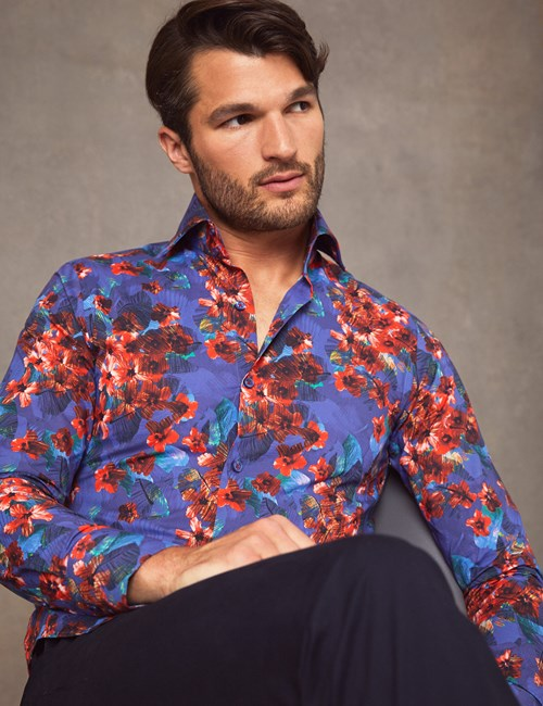 Men's Curtis Blue & Red Floral Print Slim Fit Shirt - High Collar - Single Cuff