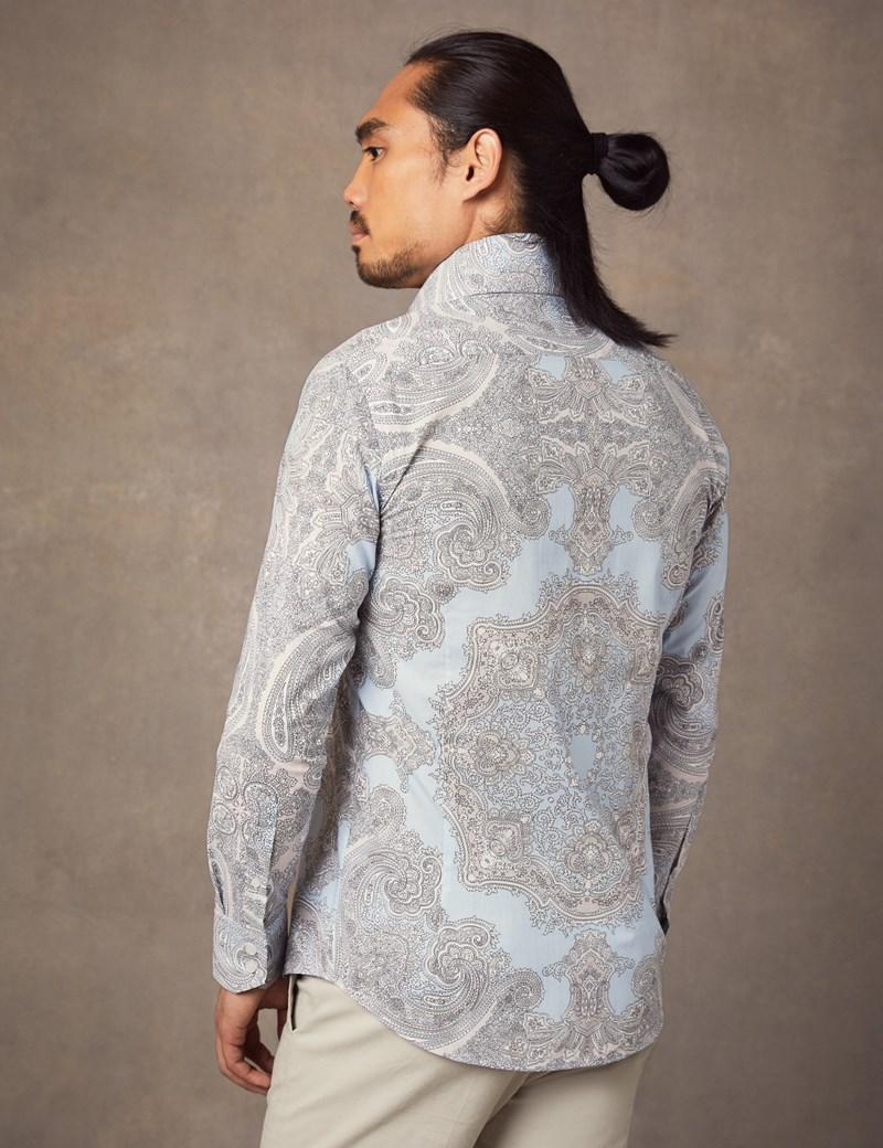 Men's Curtis Beige & Lilac Paisley Slim Fit Shirt - High Collar - Single Cuff