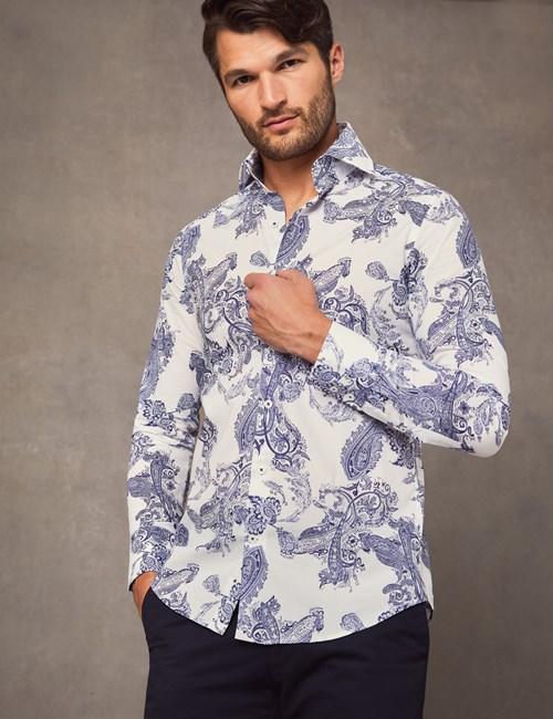 Men's Curtis Navy & White Paisley Print Slim Fit Shirt - High Collar - Single Cuff