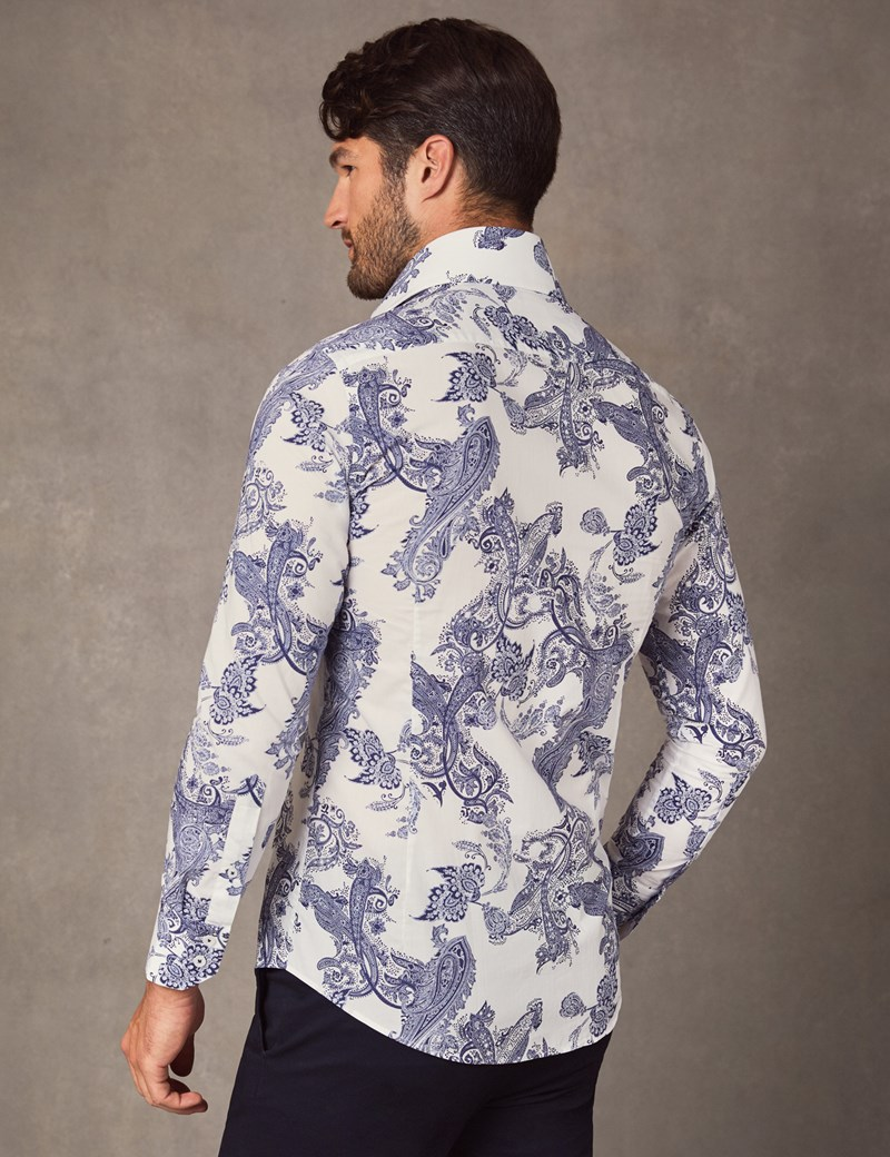 Men's Curtis Navy & White Paisley Print Slim Fit Shirt - High Collar - Single Cuff