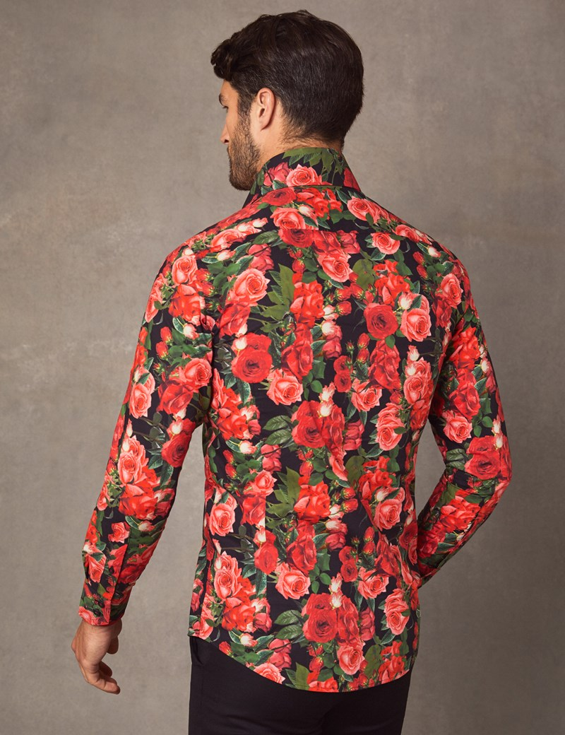 Men's Curtis Black & Red Roses Print Slim Fit Shirt - High Collar - Single Cuff