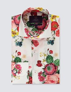 Men's Curtis Pink & Red Floral Print Slim Fit Shirt - High Collar - Single Cuff