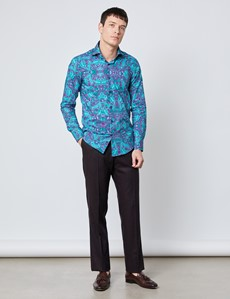 Men's Curtis Wine & Green Paisley Slim Fit Shirt - High Collar - Single Cuff