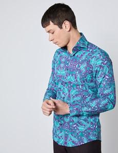 Men's Curtis Wine & Green Paisley Slim Fit Shirt - High Collar - Single Cuff