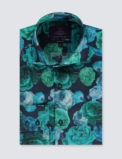 Men's Curtis Dark Turquoise Floral Slim Fit Shirt - High Collar - Single Cuff