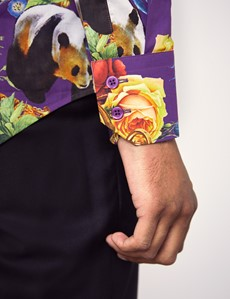 Men's Curtis Purple & Gold Panda & Clock Print Slim Fit Shirt - High Collar - Single Cuff